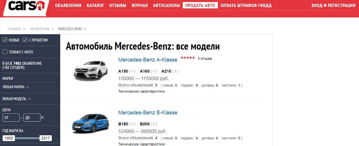Обзор сайтов по продаже б/у автомобилей - cars.ru