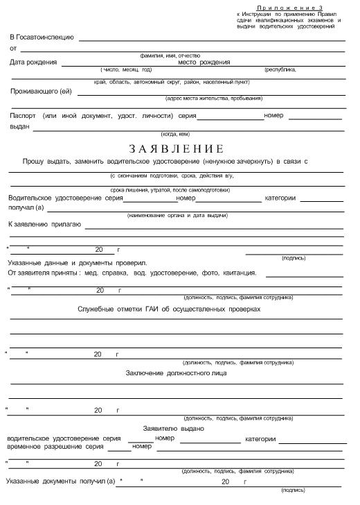 Список документов на водительские права