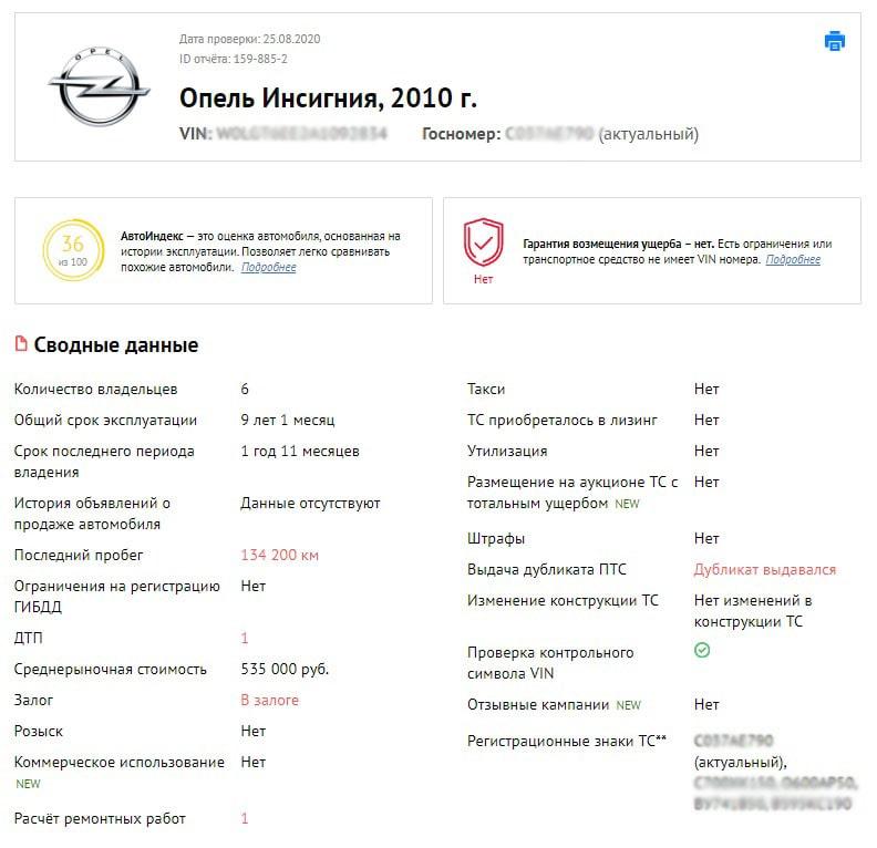 отчет Opel Insignia I