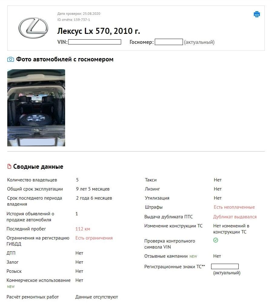 отчет по автомобилю Лексус ЛХ 570